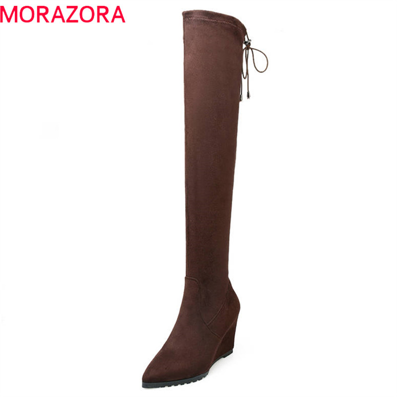 все цены на MORAZORA 2018 new arrival slim boots sexy over the knee boots women fashion winter thigh high boots shoes woman wedges shoes