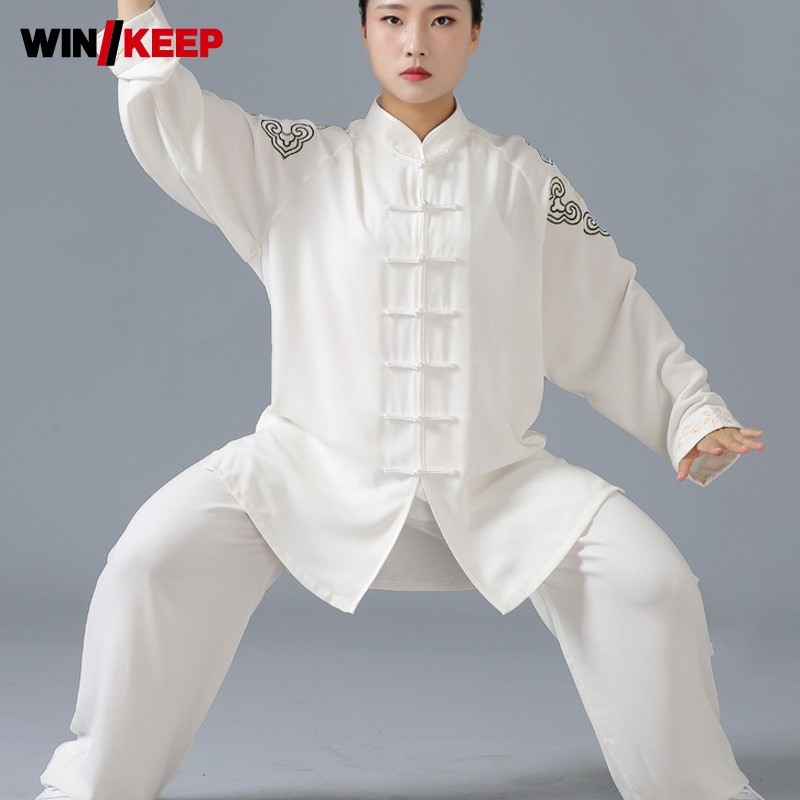 2019 New Women Tai Chi Clothing Embroidery Chinese Wushu Sports Set Martial Arts Uniform Unisex Wing Chun Training Tracksuit