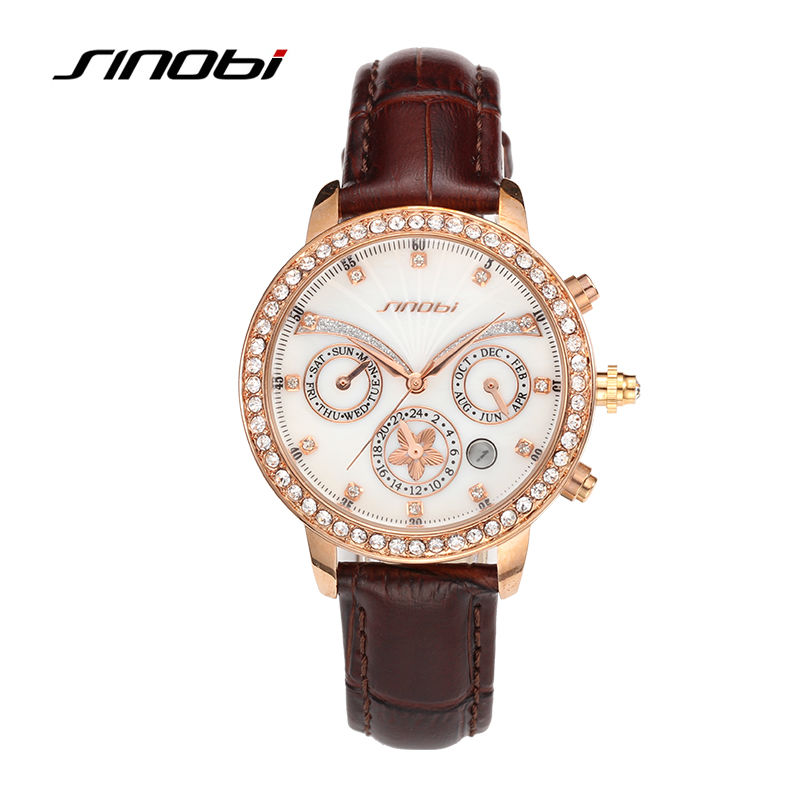 SINOBI Watch Brand Women Rose Gold Wrist Watches Diamond Flower Analog watch Ladies Fashion Quartz Wristwatch female Clock hours weiqin luxury gold wrist watch for women rhinestone crystal fashion ladies analog quartz watch reloj mujer clock female relogios