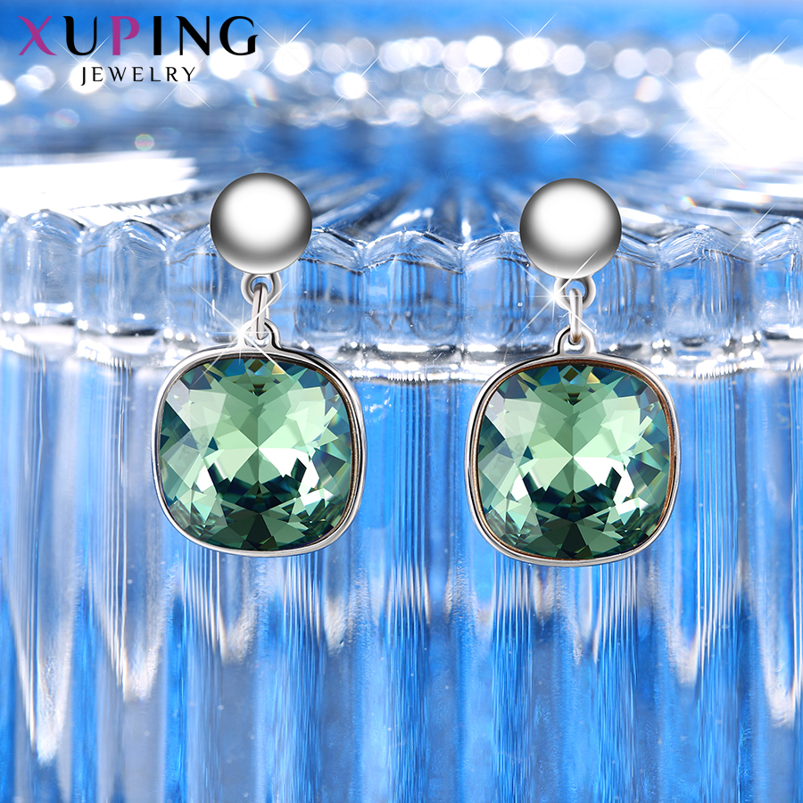 HTB1cil5XsnrK1RkHFrdq6xCoFXau - Xuping Square Earrings Crystals from Swarovski Luxury Vintage Style Jewellery Women Girl  Valentine's Day Gifts M94-20493