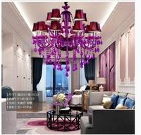 Frete Grátis Roxo LED Lustre de Cristal lustres de cristal Decoração Moderna Iluminação Lustre de Cristal Roxo AC Casa|lustres de cristal|purple crystal chandelier|crystal chandelier led -