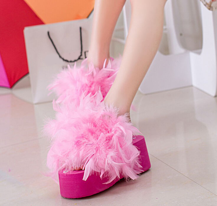 Summer Female Feather Handmade Ostrich Platform Drag Flip Flops Women Wedges Platform Sandals Slippers ladies platform shoes