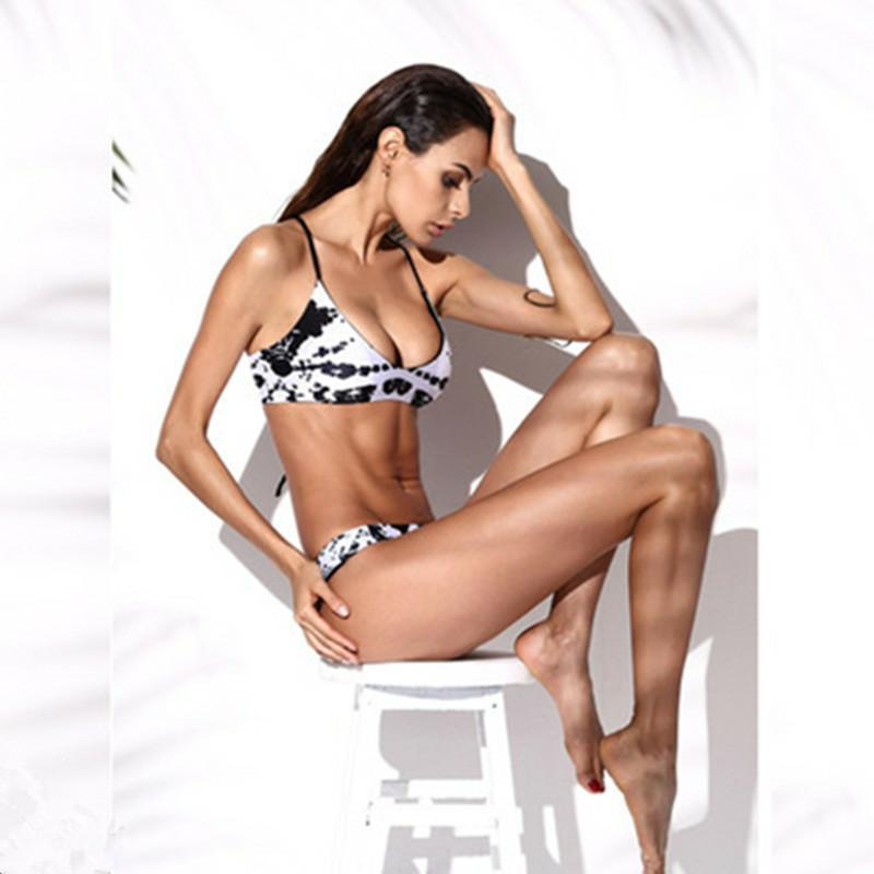 Crochet bikinis women push up swimwear sexy bathing suits low waist swimsuit print tops bikini black bottoms swimming wear 2018