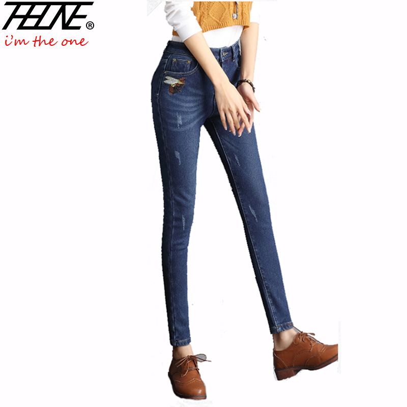 THHONE Women Pants Jeans High Waist Ripped Denim Pants Embroidery Vaqueros Mujer Winter Warm Trousers Velvet Skinny Jeans Women