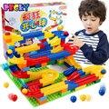 Qwz bola feliz diy construcción carrera carrera laberinto bolas de plástico pista casa montado bloques de construcción de juguetes diy ladrillo regalo de los niños