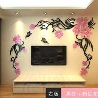 Novo Tamanho Grande Removível Adesivos de Parede Flores de Acrílico 3d Sofá home da parede decalques adesivos diy adesivos de parede para salas de estar decoração