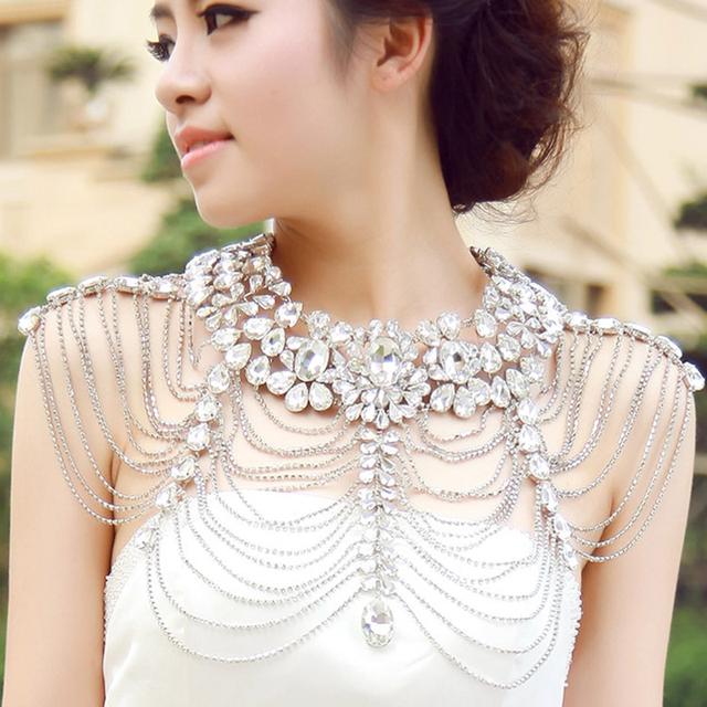 Luxury Rhinestone Necklace Chain Bridal Shoulder Necklace Chain