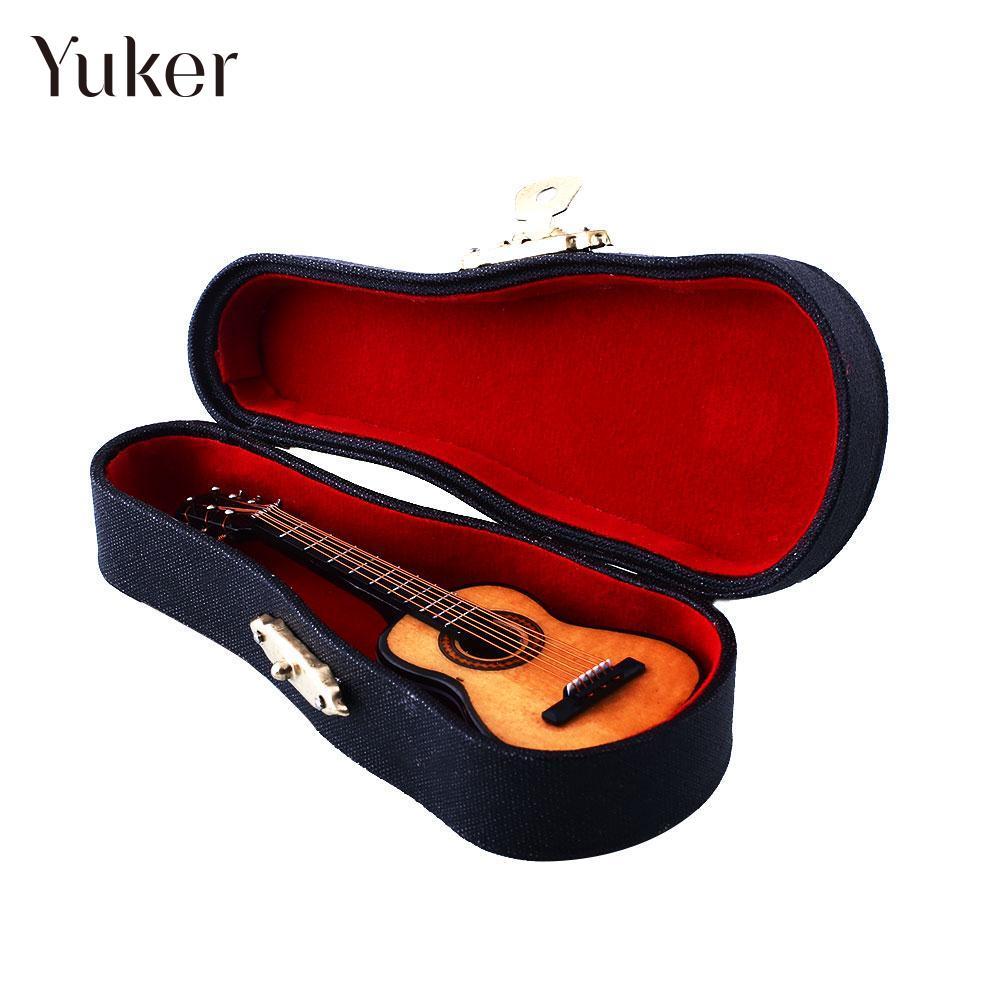 1:12 Mini Acoustic Guitar Wooden Miniature Musical Music Dollhouse Case amumu traditional weaving patterns cotton guitar strap for classical acoustic folk guitar guitar belt s113