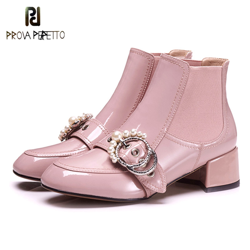 Prova Perfetto Pink Women Ankle Boots Rivet Round Toe Chunky High Heel Boots Mirror Metallic Women Pumps Female Sexy Stiletto elegant women s round toe pumps with stiletto and suede design