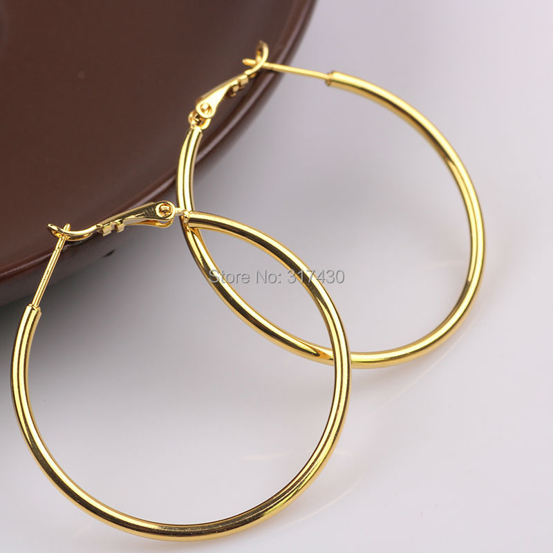 da3d77f217b31 Womens or ladies 24K 24ct yellow gold Filled Plain 4cm Medium Large ...