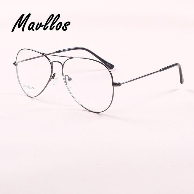 Mavllos Eyewear Eyeglasses Frames Military Pilot Glasses Women Mirror Clear Aviator Eyes Frame Band Optical Alloy Metal Round
