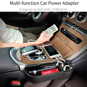 Image 4 - Caja de almacenamiento de hendidura de asiento para coche 2 cargadores USB para coche, encendedor de cigarrillos, bolsa organizadora para automóvil, espacio de bolsillo, tarjetero de carga