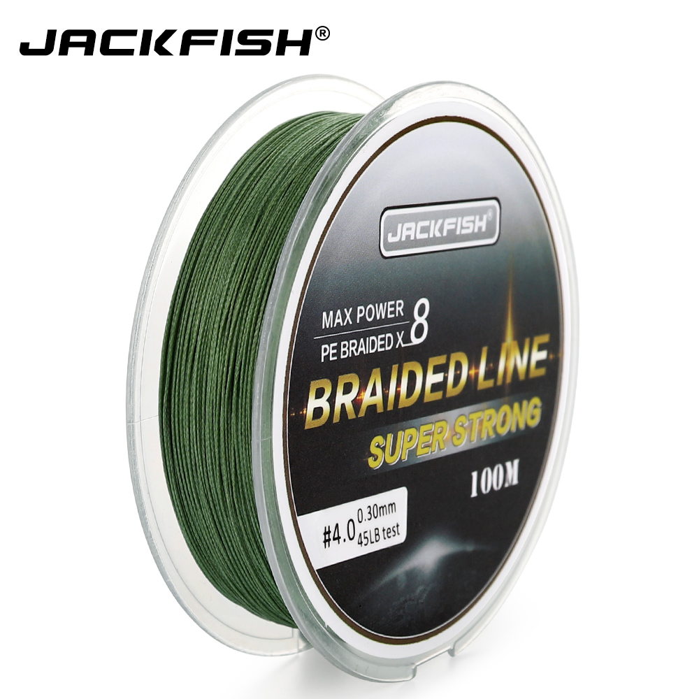 JACKFISH 100M 8 strand PE Braided Fishing Line10-80LB PE Fishing Line with packp