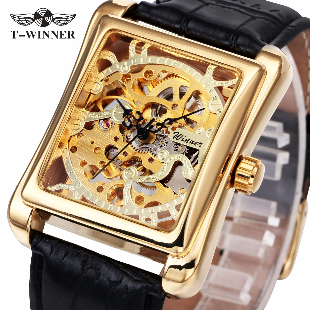 WINNER Retro Ladies Mechanical Watch Women Wristwatches Skeleton Rectangle Watches Leather Strap Gift +BOX
