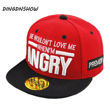 DINGDNSHOW 2018 Children Baseball Caps Hip Hop Flat Along Letter ANGRY Hat For