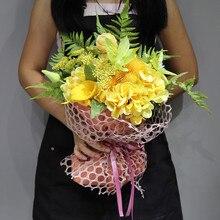 INDIGO -Yellow Bouquet Gift Hydrangea+Calla+Clematis Flower Arrangement Handmade Wedding Bride Party Event Free Shipping