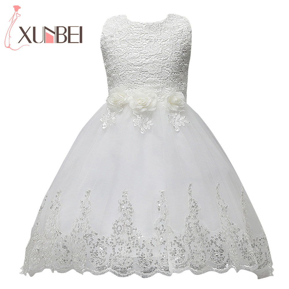 Lovely White High Low   Flower     Girl     Dresses   Shinny Sequin Lace Kids Evening Gowns Court Train Pageant   Dresses   For   Girls