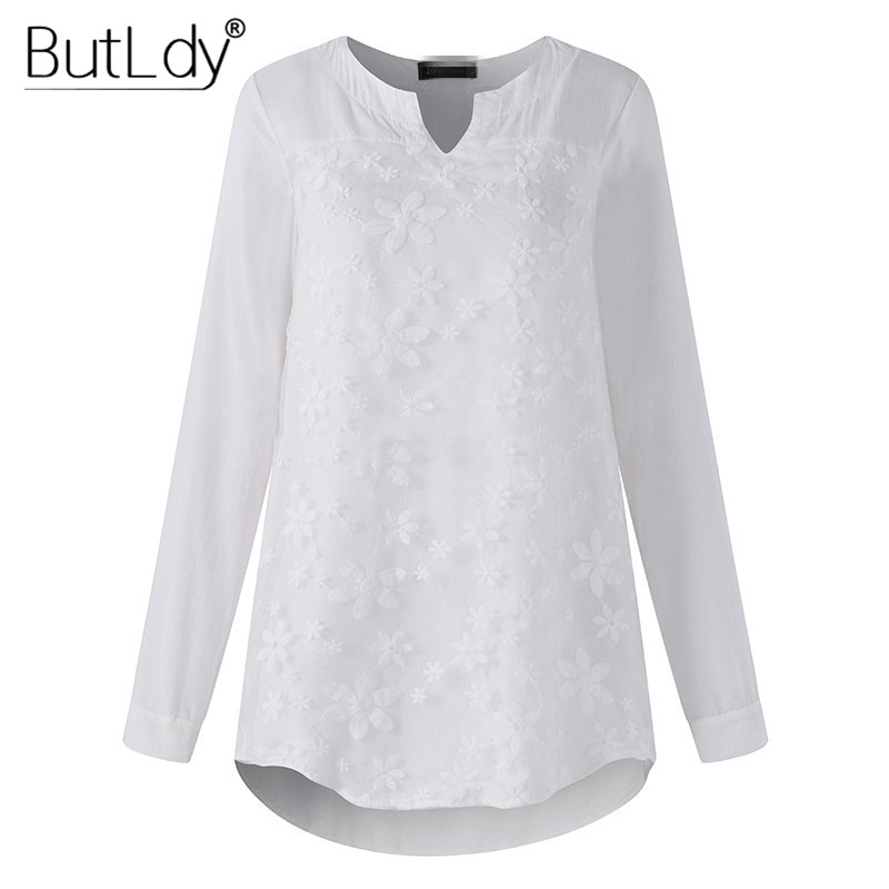 Lace Embroidery Blouse Women Floral V Neck Casual Shirt Top Long Sleeve Tunic Blouses Autumn 2019 Plus Size 5XL Tees Clothing