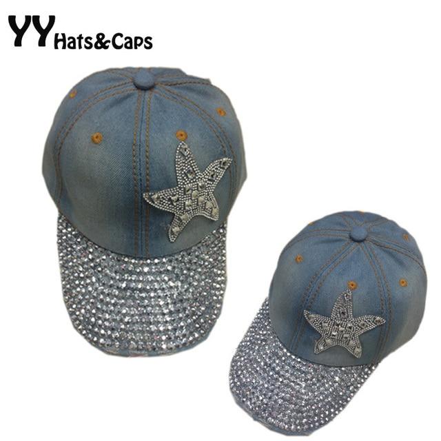 Moda Crystal Denim gorra de béisbol para las mujeres Sol sombrero señora  Jean SnapBack Cap Diamantes 77b6bf9e3cc