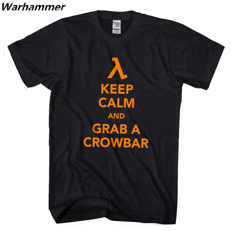 FPS Classic Game HALF LIFE Men T shirt Keep Calm Grab A Crowbar Boy Letters Printed Short Sleeve Tees O-neck 100%Cotton EU Size