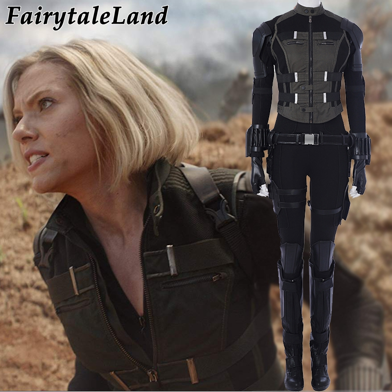 Veuve noire Cosplay Costume Fantaisie Superhero Costume Avengers Infinity Guerre cosplay Natasha Romanoff Noir veuve salopette