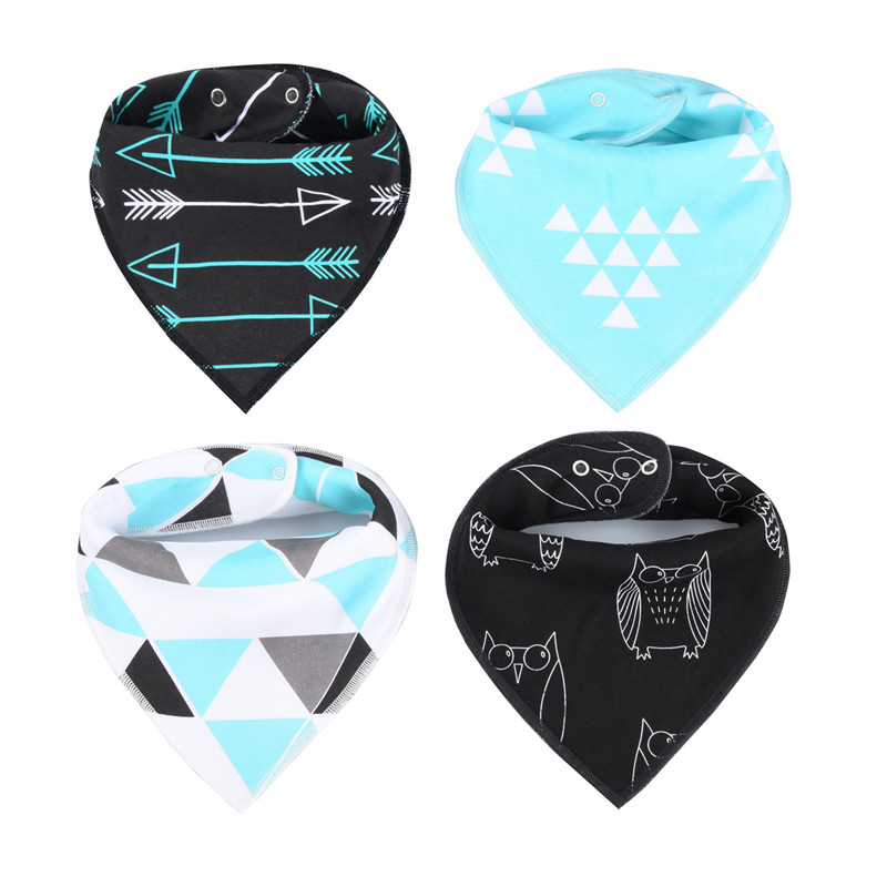 4Pcs/Lot Baby Bibs Different Styles Cotton Soft Kids Toddler Triangle Scarf Bib Cool Accessories Infant Saliva Towel 6