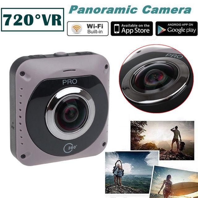 GV720B 360 degree VR Camera 220 Degree Fish Eye Lens Video Built in Wifi 2600mah Battery Free shipping!