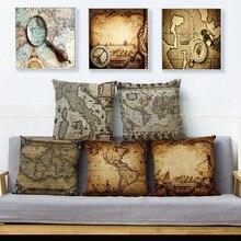 Vintage viejo estampado de mapa funda de cojín beige Lino almohada 45*45cm cubiertas para almohadas cuadradas coche sofá funda de cojín de decoración para hogar
