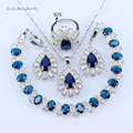 L&B Silver Color Wedding Jewelry Sets Blue created Sapphire White zircon Earrings/Ring/Bracelet/Pendant/Necklace for women