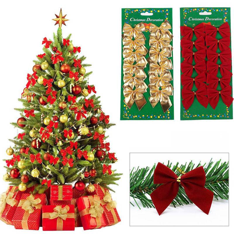 12pcs Christmas Tree Tie On Bow Decorations Hanging
