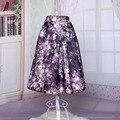 2016 de La Moda de Primavera Alta Cintura Elegante Impreso Floral de La Rodilla-Longitud Elástica de Cintura Ladies Plisado Vintage Temperamento Faldas Del Tutú