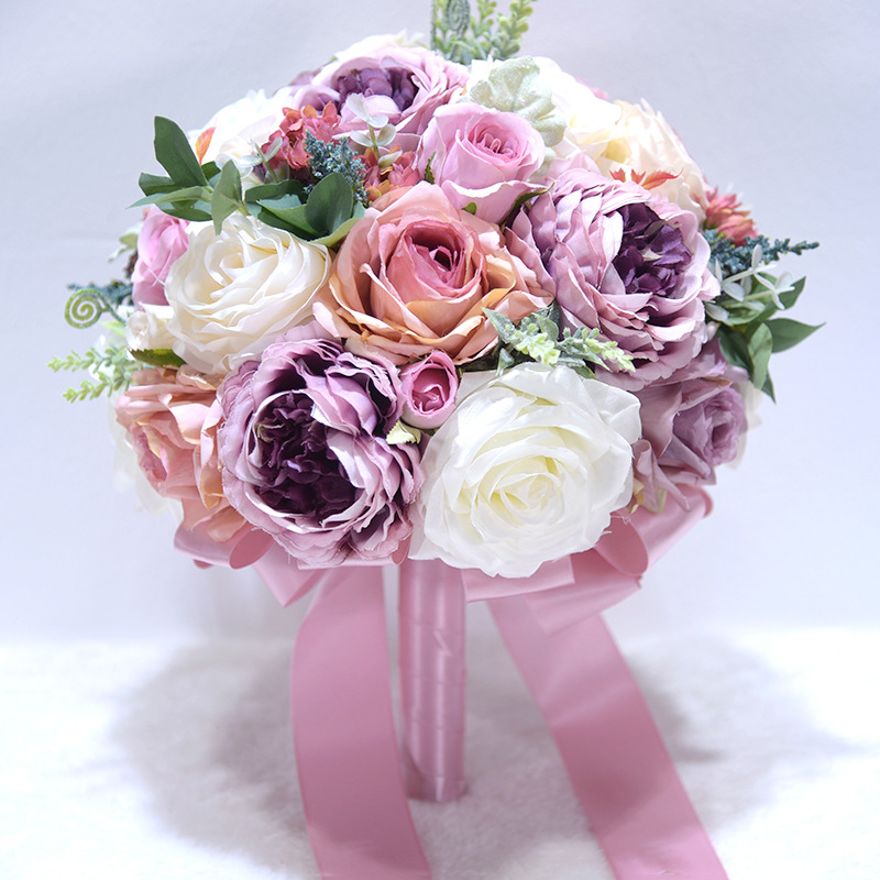 AYiCuthia Romantic Bridal Flowers Wedding Bouquet With Ribbon Artificial Pink Bridal Accessories Wedding Flowers S150