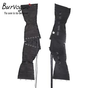 Image 5 - Burvogue מותניים מאמן מחוכי הרזיה Shaper חגורת טורסו הקצר סאטן Underbust מחוך סקסי תחרה עד Bustiers ומחוכי נשים