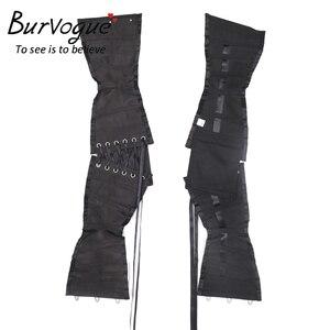 Image 5 - Burvogue espartilhos de treino, corselete modelador de emagrecimento, cinto curto, de cetim, amarrar, sensual