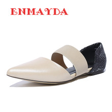 ENMAYDA Soft Leather Women Flats Spring/Autumn Casual Shoes Woman 2 Colors Pointed Toe Flats Slip-on New Women Flats Shoes