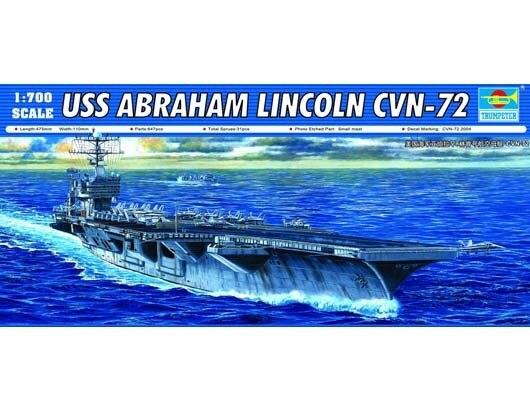 Trumpet 05732 1:700 USA Abraham Lincoln Aircraft Carrier CVN-72 Assembly Model Building Kits Toy assemble 1 72 u s mv 22b osprey tiltrotor aircraft model 02231 blocks kits