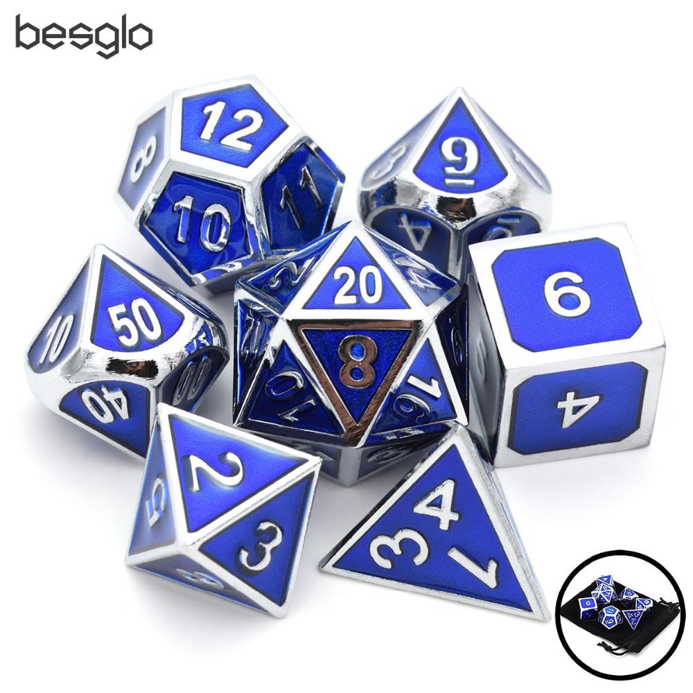 7 pçs/set Azul Metal Dice Set D & D Dados com Bolsa De Veludo D20 D12 D10 D % D8 D6 MTG D4 para Dungeons And Dragons DND RPG Jogos de Mesa