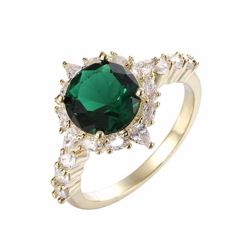 Женское кольцо с цветами Anillos De Compromiso, серебро/золото, цвет белый, зеленый, много цветов, кубический циркон, камень, вечерние кольца, Женские Ювелирные изделия