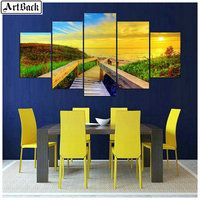 5d diamond painting landscape sunset pastoral scenery full square drill 3d diamond embroidery mosaic living room decorative