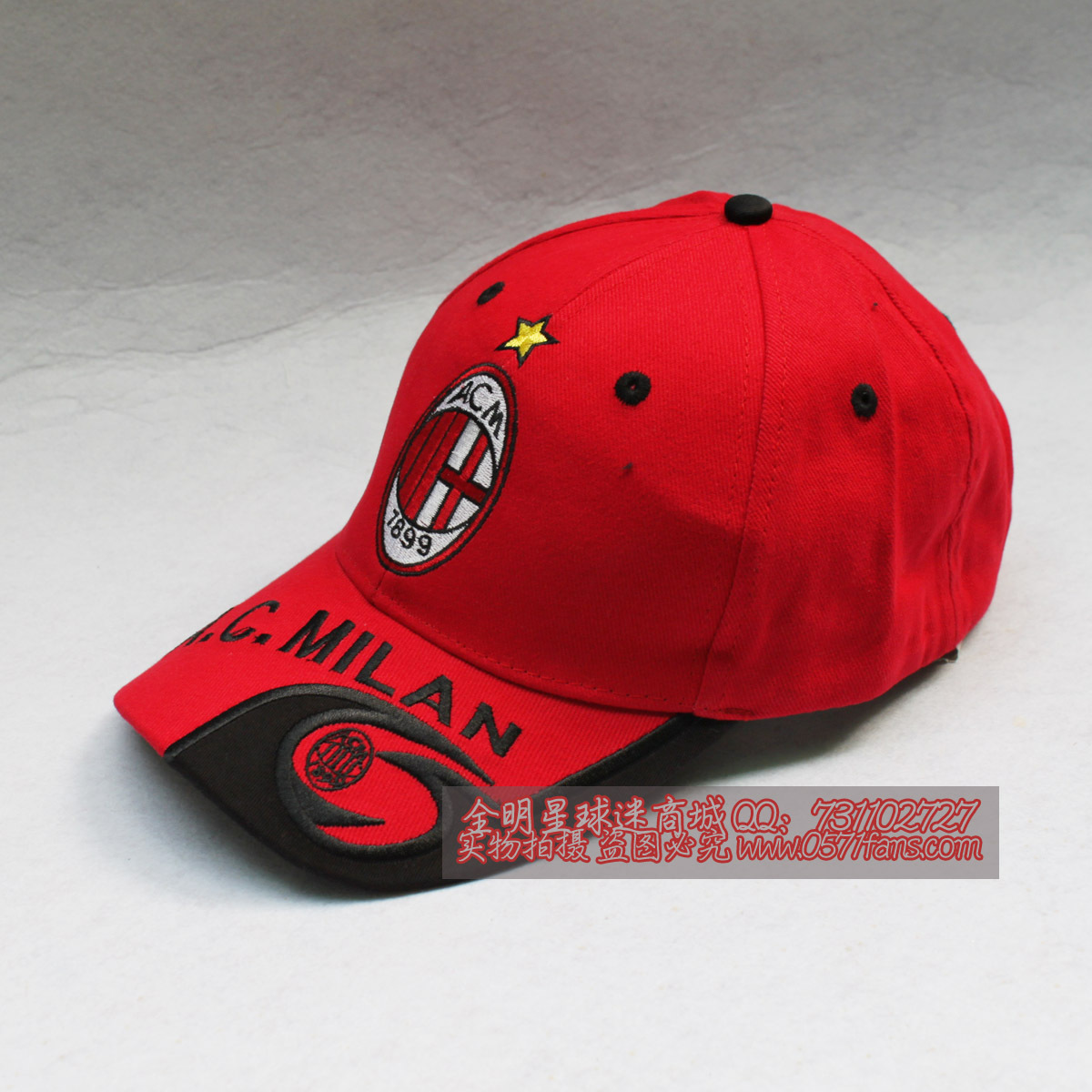 Football team logo embroidery sun hat AC Milan baseball cap football hat  red   black AC Milan club team soccer 6867192d8966