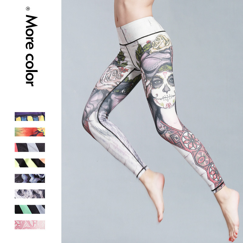 2017 spring and Autumn New Yoga Pants female print sports font b fitness b font tight