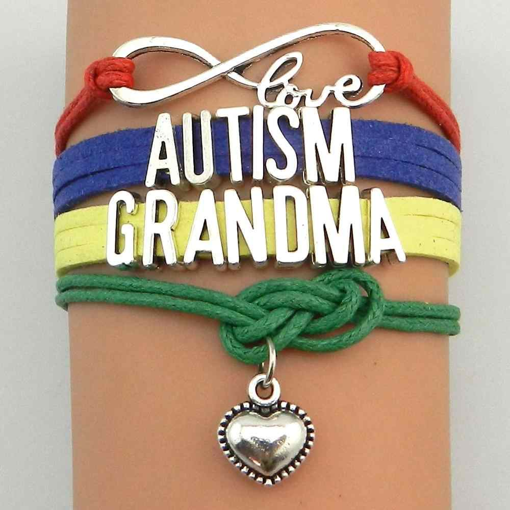 Унисекс ручной работы аутизма серебряный кулон сердце тканые браслет Bradied Для мужчин ювелирные изделия мама сестра