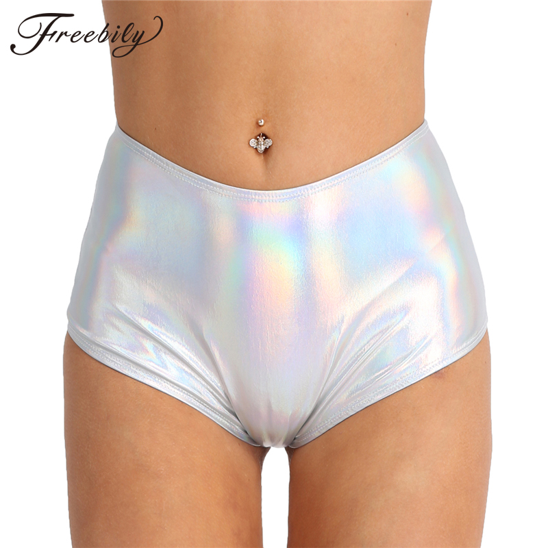 Women Shiny Sexy Shorts Metallic Pole Dance Club Shorts Zipper High Waist Rave Booty Shorts High Waisted Bottoms Lady Shorts