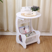 Yazi Vintage White Round Side End Table Garden Coffee Tea Table Home Storage Rack Lamp Shelf