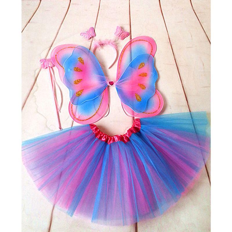 4Pcs//Set Baby Kids Girls Fairy Butterfly Wings Tutu Skirt Fancy Cosplay Costume