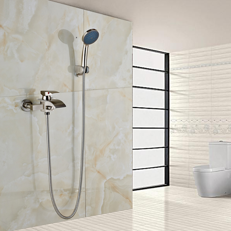 Wall Mounted Nickel Brushed Handheld Shower Faucet Single Handle Tub Filler Bath Shower Mixer Taps