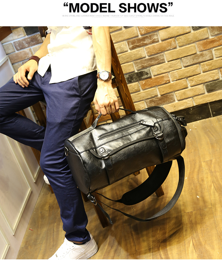 Hot PU Leather Outdoor Sports Gym Bag For Men with shoes pocket Training Backpack Fitness Shoulder Bag Waterproof Travel Handbag