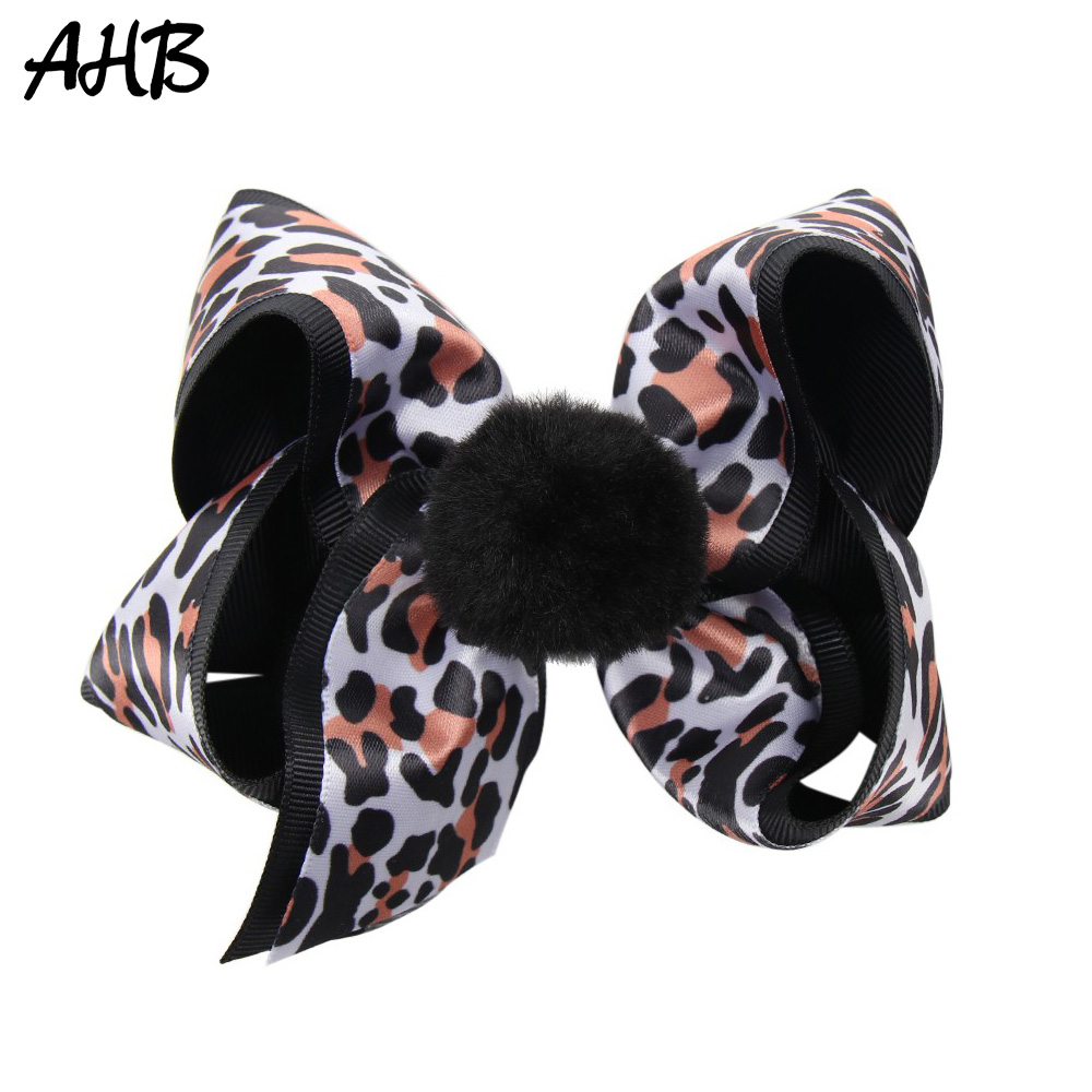 AHB 5 Leopard Hair Bows with Clips for Girls Black Double Layer Bowknot Hairgrips Fashion Pompom Hairbows Party Kids Headwear