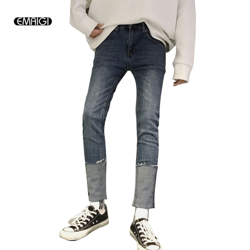 Men Flange Slim Fit Jeans High Street Fashion Hip Hop Male Women Casual Denim Pants Vintage Jeans Trousers