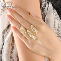 Mytys Hot sale Wholesale Creative Unique Design Through Fingers Jewelry Ring Free Size Handlets Cuff Ring R986